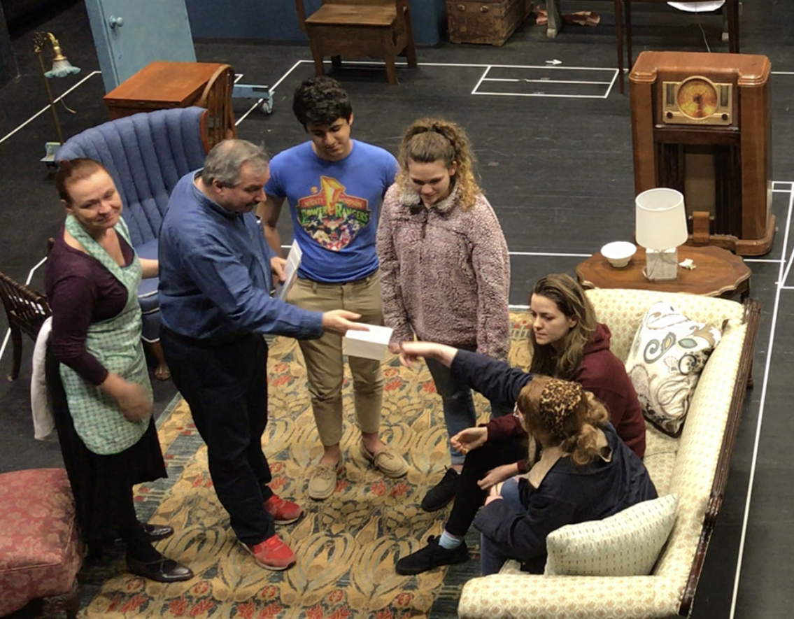 The cast rehearses a scene with Equity Actors Laurie Dawn and Buzz Roddy.