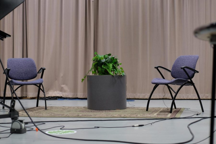 studio chairs set up for interview