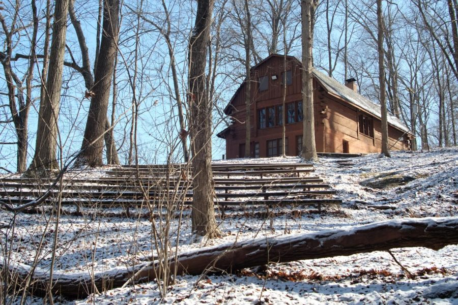 Bent Twig Amphitheater and the westwood lodge in winter