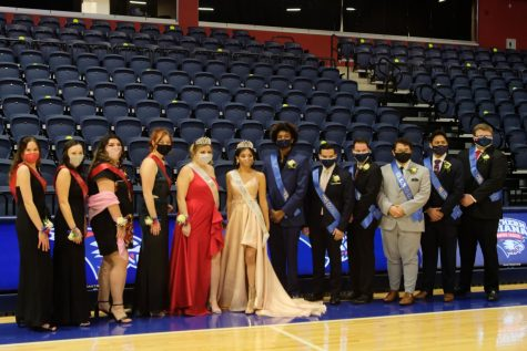 The 2021 homecoming court and crowned majesties. (from left to right) Mary Claire Hall, Sydney Ingler, Kassandra Santos, Erika Uebelhor, Marina Blackwell, Daisy Valdez-Perez, Jachonn Tisinger, Diego Castillo Koussa, Jack Sizemore, Alec Kratzer, Jotam Chen, and Mike Durchholz