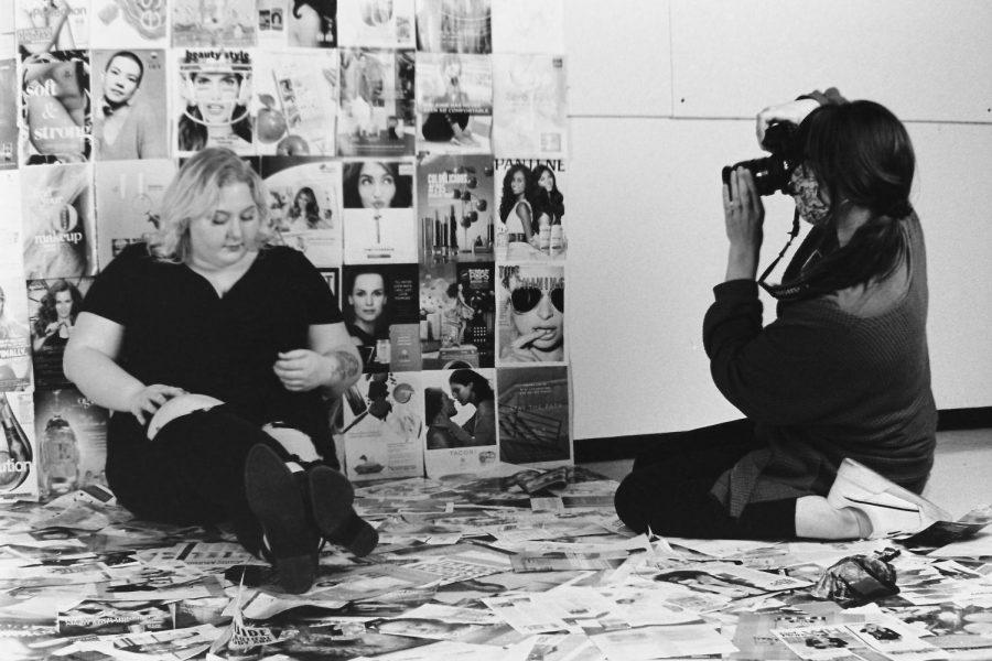 Megan Thorne photographs model Lani Dillard in the USI Lighting Studio, November 8, 2020
