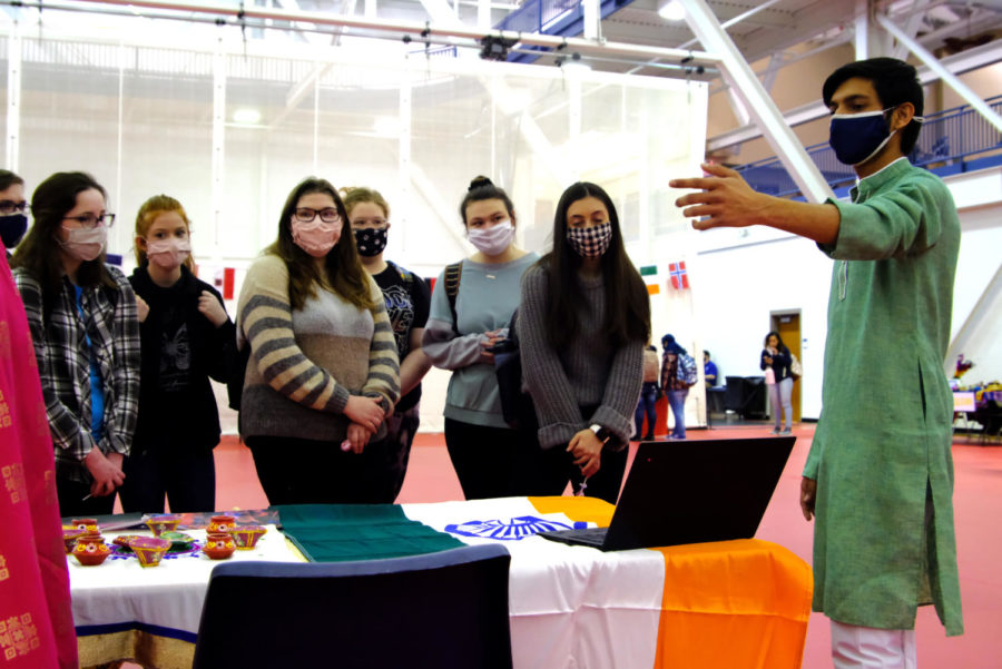 Preet Patel, junior computer science major, gives his presentation of India to a group of Students.