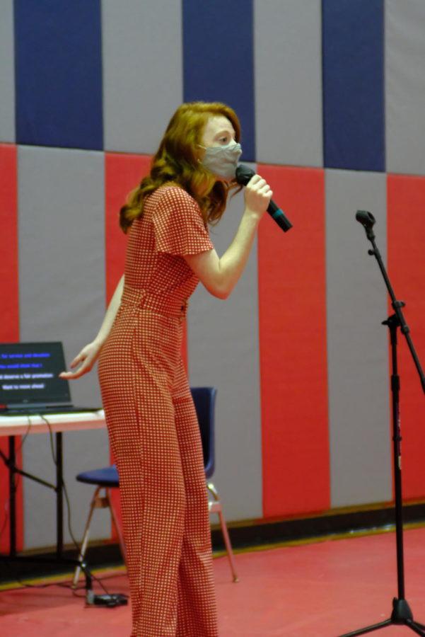 Lauren Pilkington, junior radio and television major, sings Dolly Parton's
