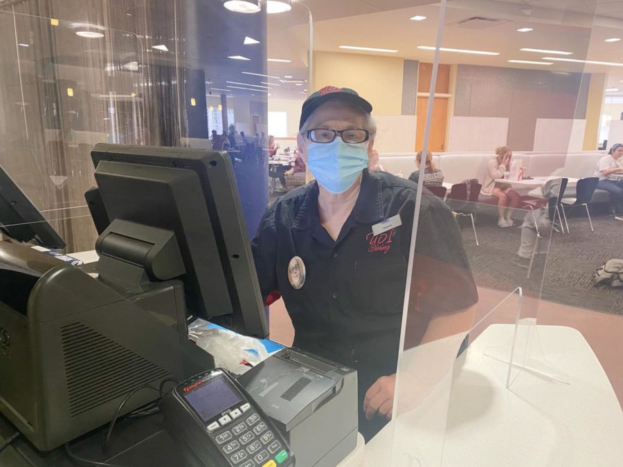 Dayna Cunningham, a cashier at The Loft, stands ready to help students. The Loft is one of the few remaining dining options on campus.