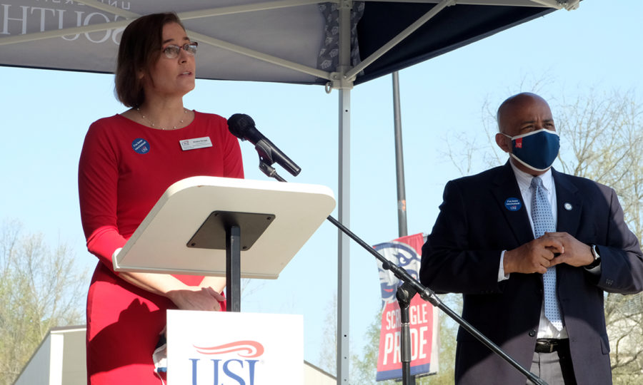 Kendra Strupp, Vice President for Marketing and Communications, and President Rochon host a press conference outside Screaming Eagles Arena Wednesday morning.