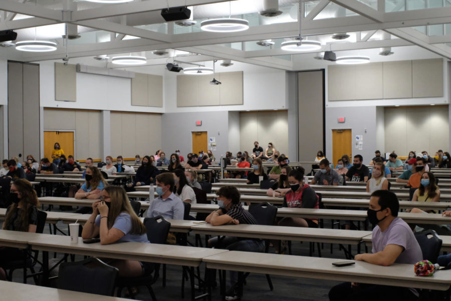 Many students attended the discussion in Carter Hall Wednesday. Some attendees stood in the back of the hall because there were no open chairs.