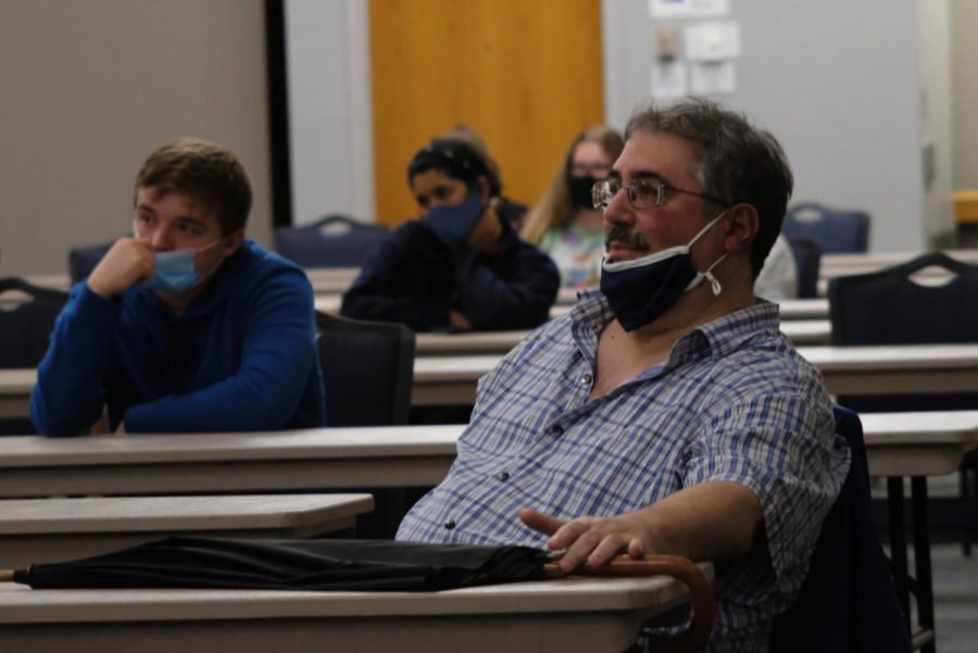 Rocco Gennaro, professor of philosophy, attends the event in Carter Hall Wednesday. Gennaro said he attended the event because he covered the topic of abortion in his intro ethics class, PHIL 201.