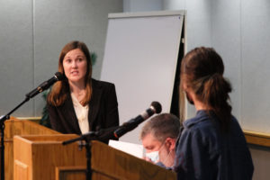 Ellie Kiesel, president of Students For Life, responds to Noelle Harrington, a freshman English major, in Carter Hall Wednesday. Harrington got up to speak after Kiesel opened the floor to attendees wanting to discuss the topic of abortion.
