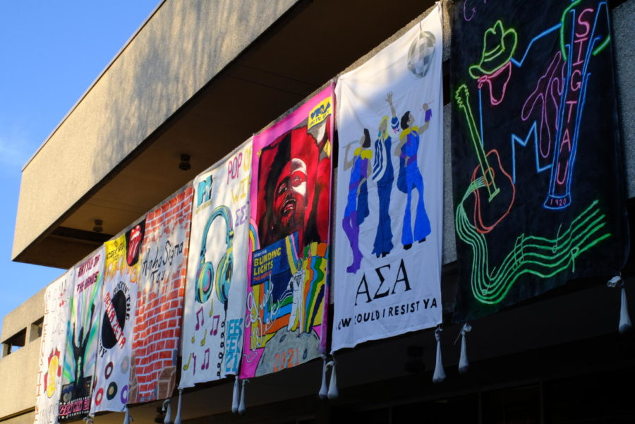 These are the banners submitted by teams for the Greek Week Banner Competition. Tau Kappa Epsilon was one of the winners, their banner depicted The Weekend (third from right).