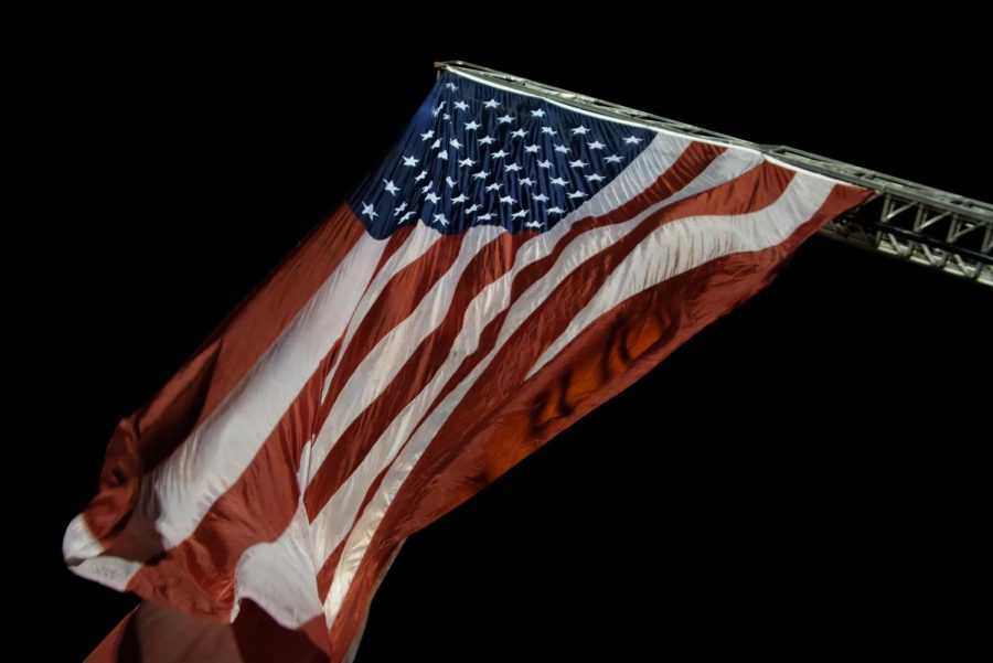 The flag itself expands to 16x24 feet. At night, the banner is illuminated by spotlights positioned under it.