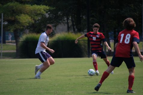 Defender Colton Walsh manuvers around McKendree as the second half of the game comes to a close.