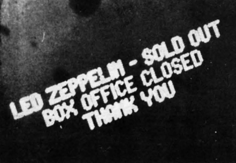 Sold out box office sign in the Market Square Arena in 1975. The Market Square Arena was demolished in 2001.