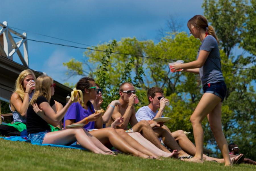 Student enjoy the weather at Kramer Lake.  Photo by NICK EBERTZ/The Shield