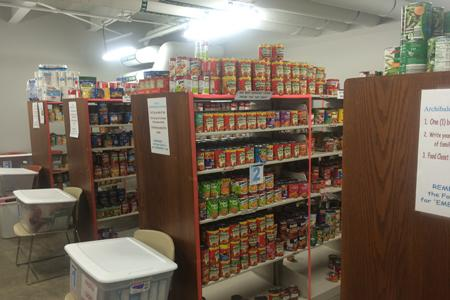 The inside of Archie's Closet, located at the RFWC, is a food pantry for students in need of assistance.