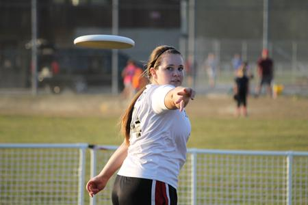 Katarina Book, a junior majoring in English is apart of the women's Ultimate Frisbee team. She was keeping focused and kept on trying to perfect her backhand throw  at the USI Intramural Softball Complex.