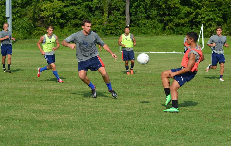 The Men's Soccer Team practices Aug. 28 for its first game Thursday.
