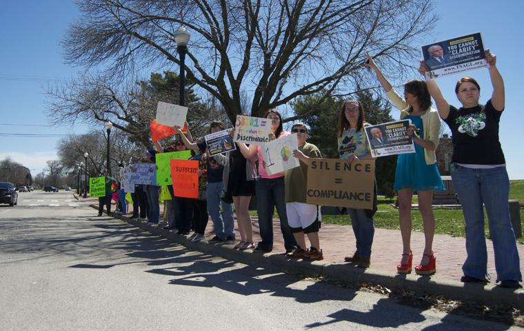 Students, faculty protest Indiana's religious freedom law