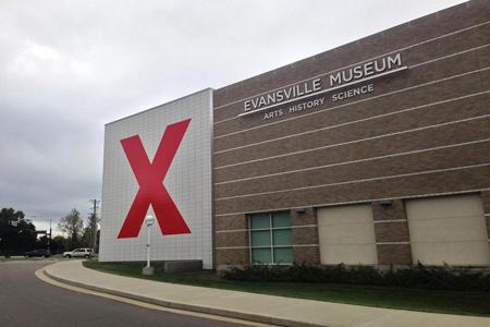 """Evansville museum displays a red """"X""""on the side of the building to represent TEDx coming to the city, on Oct. 13."""