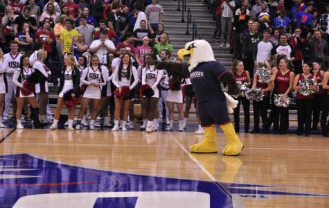 Archie the Eagle interacts with fans after the unveiling.