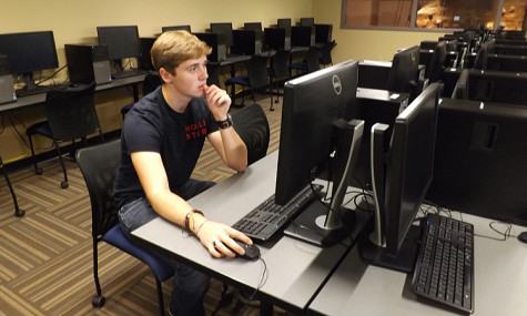 Freshman Eric Mason takes advantage of the new computer lab located on the top floor of the Recreation, Fitness and Wellness Center.