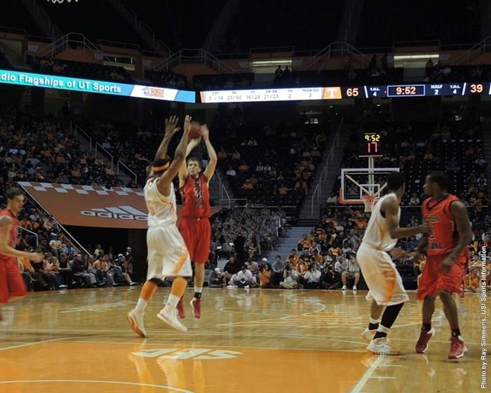 Taylor Wischmeier goes up for a shot against Tennessee in Knoxville. PHOTO: USI Sports Information