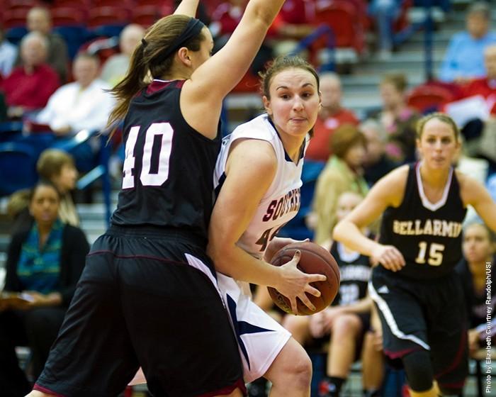 Anna Hackert runs the offense last season against Bellarmine. Photo: USI Sports Information Department